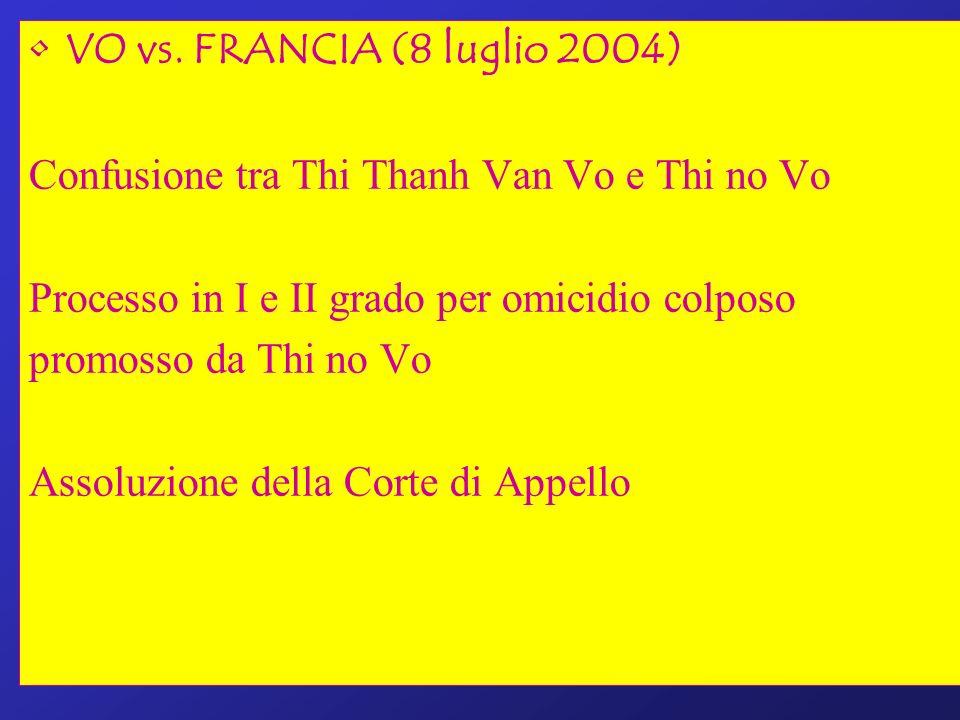 VO vs. FRANCIA (8 luglio 2004) Confusione tra Thi Thanh Van Vo e Thi no Vo Processo in I e II grado per omicidio colposo promosso da Thi no Vo Assoluz