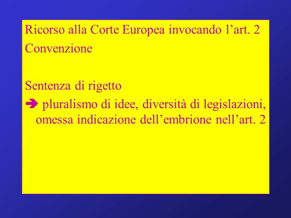Ricorso alla Corte Europea invocando lart. 2 Convenzione Sentenza di rigetto pluralismo di idee, diversità di legislazioni, omessa indicazione dellemb