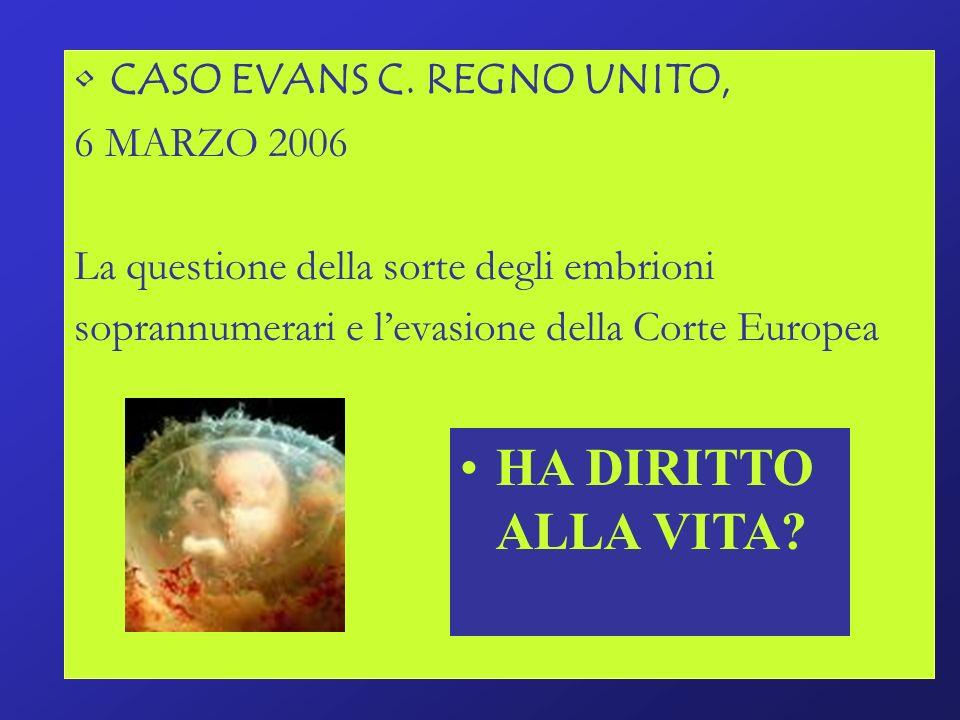 CASO EVANS C. REGNO UNITO, 6 MARZO 2006 La questione della sorte degli embrioni soprannumerari e levasione della Corte Europea HA DIRITTO ALLA VITA?