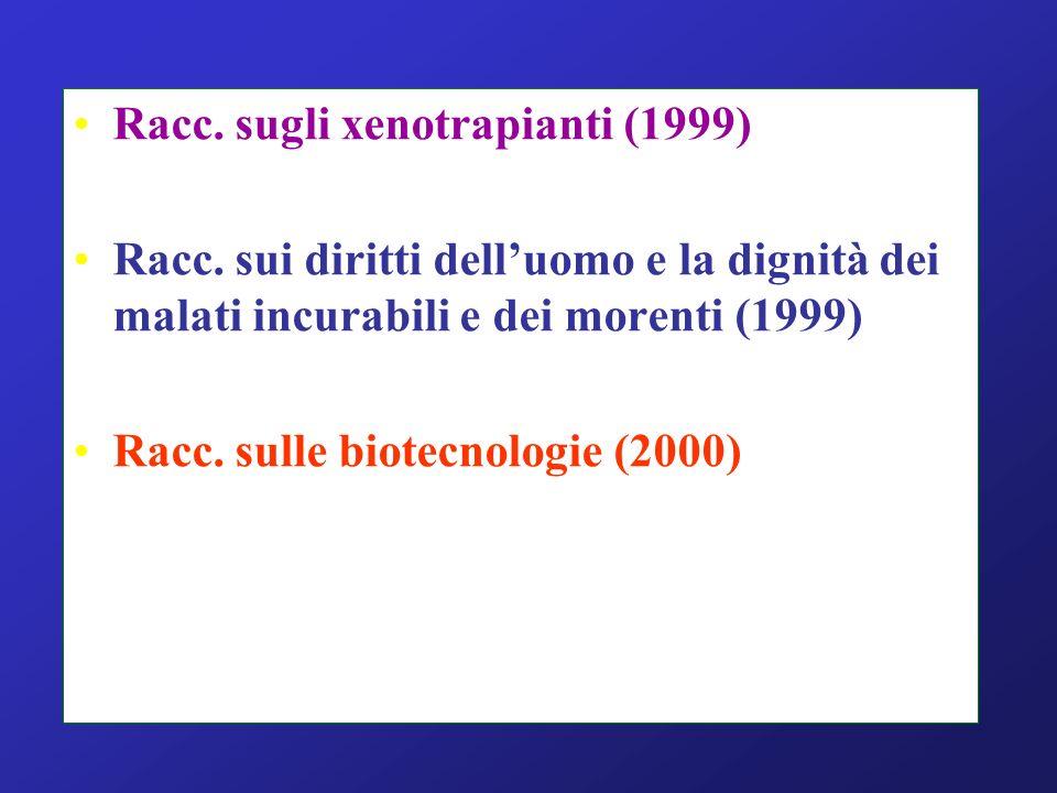 Racc. sugli xenotrapianti (1999) Racc. sui diritti delluomo e la dignità dei malati incurabili e dei morenti (1999) Racc. sulle biotecnologie (2000)