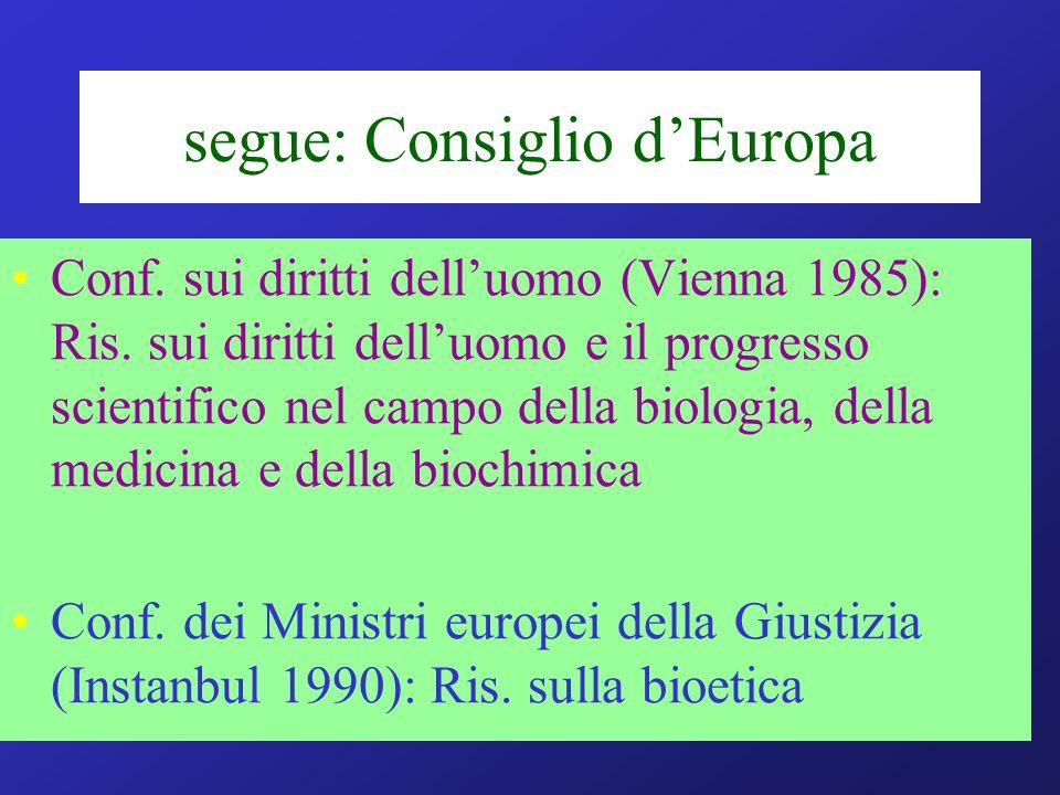 segue: Consiglio dEuropa Conf. sui diritti delluomo (Vienna 1985): Ris. sui diritti delluomo e il progresso scientifico nel campo della biologia, dell