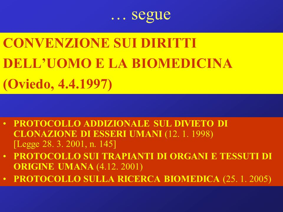 … segue CONVENZIONE SUI DIRITTI DELLUOMO E LA BIOMEDICINA (Oviedo, 4.4.1997) PROTOCOLLO ADDIZIONALE SUL DIVIETO DI CLONAZIONE DI ESSERI UMANI (12. 1.
