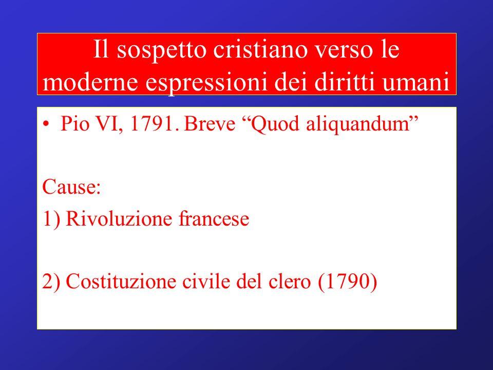 Il sospetto cristiano verso le moderne espressioni dei diritti umani Pio VI, 1791. Breve Quod aliquandum Cause: 1) Rivoluzione francese 2) Costituzion