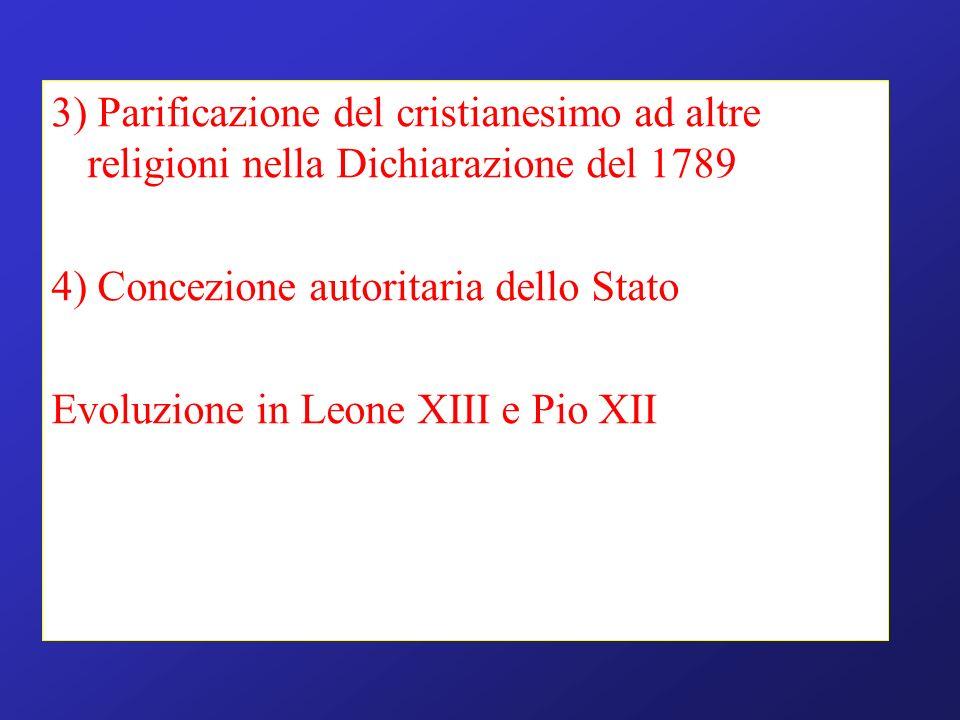 3) Parificazione del cristianesimo ad altre religioni nella Dichiarazione del 1789 4) Concezione autoritaria dello Stato Evoluzione in Leone XIII e Pi