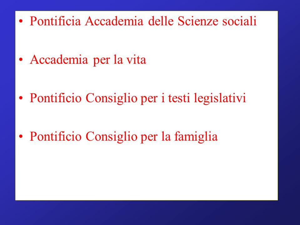 Pontificia Accademia delle Scienze sociali Accademia per la vita Pontificio Consiglio per i testi legislativi Pontificio Consiglio per la famiglia