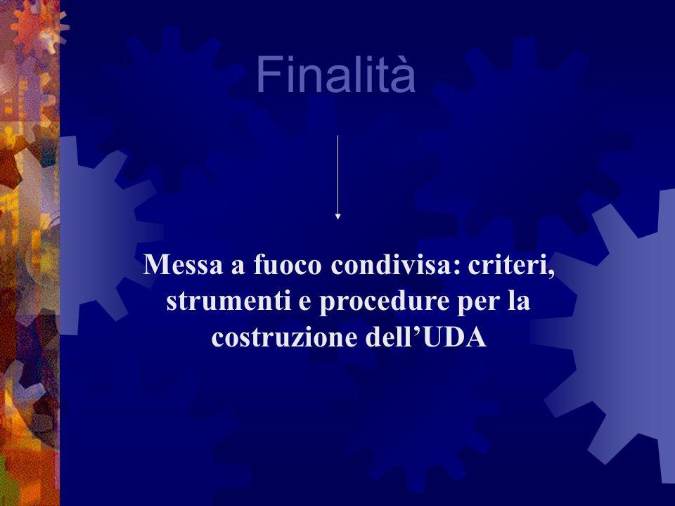 Finalità Messa a fuoco condivisa: criteri, strumenti e procedure per la costruzione dellUDA