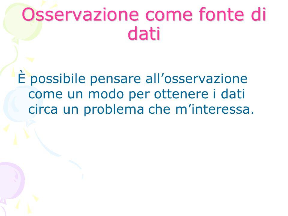 Osservazione come fonte di dati È possibile pensare allosservazione come un modo per ottenere i dati circa un problema che minteressa.