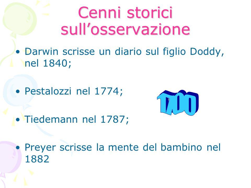 Cenni storici sullosservazione Darwin scrisse un diario sul figlio Doddy, nel 1840; Pestalozzi nel 1774; Tiedemann nel 1787; Preyer scrisse la mente d