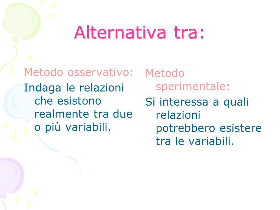 Alternativa tra: Metodo osservativo: Indaga le relazioni che esistono realmente tra due o più variabili. Metodo sperimentale: Si interessa a quali rel