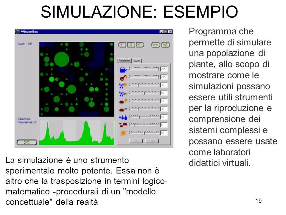 19 SIMULAZIONE: ESEMPIO La simulazione è uno strumento sperimentale molto potente. Essa non è altro che la trasposizione in termini logico- matematico