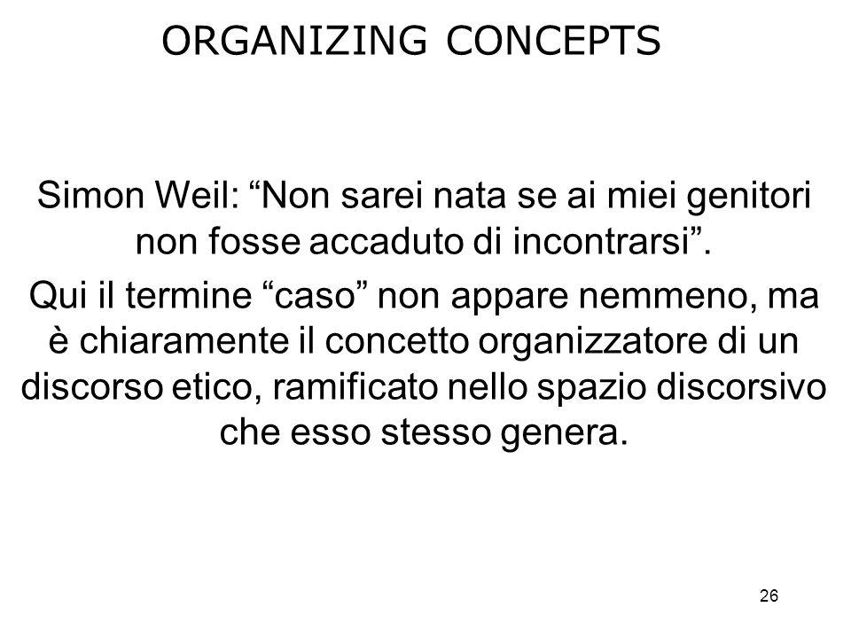 26 ORGANIZING CONCEPTS Simon Weil: Non sarei nata se ai miei genitori non fosse accaduto di incontrarsi.