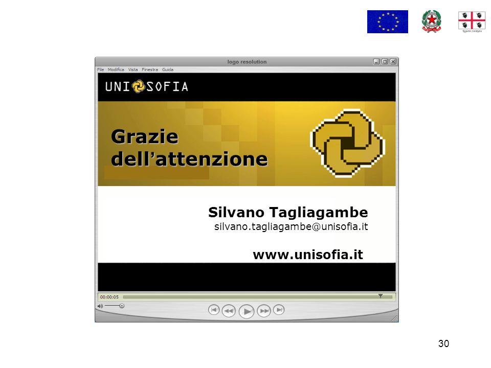 30 Silvano Tagliagambe silvano.tagliagambe@unisofia.it Grazie dell attenzione www.unisofia.it