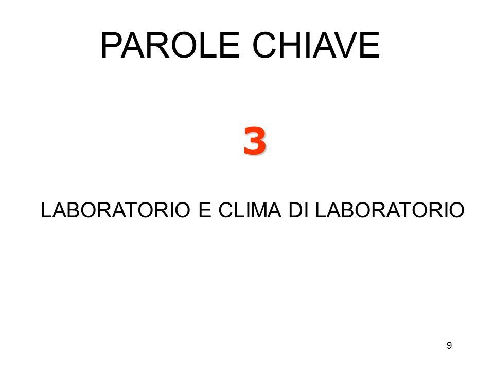 9 3 LABORATORIO E CLIMA DI LABORATORIO PAROLE CHIAVE
