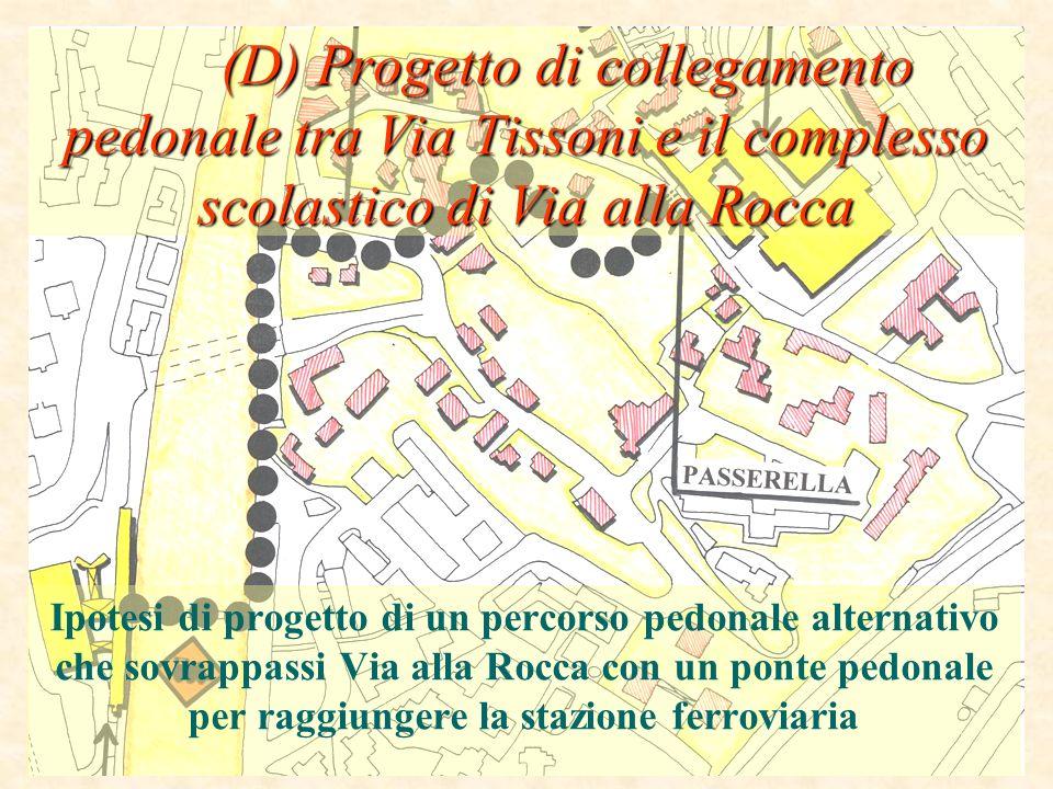 (D) Progetto di collegamento pedonale tra Via Tissoni e il complesso scolastico di Via alla Rocca (D) Progetto di collegamento pedonale tra Via Tisson