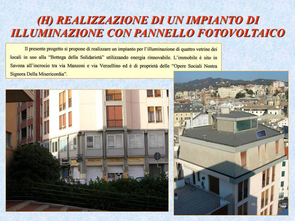 (H) REALIZZAZIONE DI UN IMPIANTO DI ILLUMINAZIONE CON PANNELLO FOTOVOLTAICO