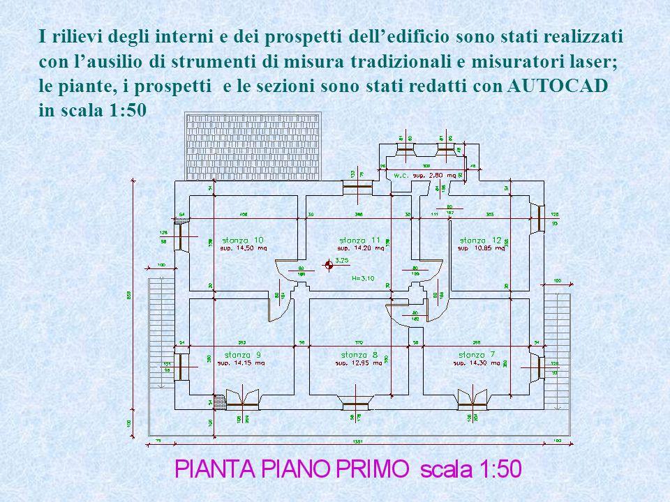 I rilievi degli interni e dei prospetti delledificio sono stati realizzati con lausilio di strumenti di misura tradizionali e misuratori laser; le piante, i prospetti e le sezioni sono stati redatti con AUTOCAD in scala 1:50