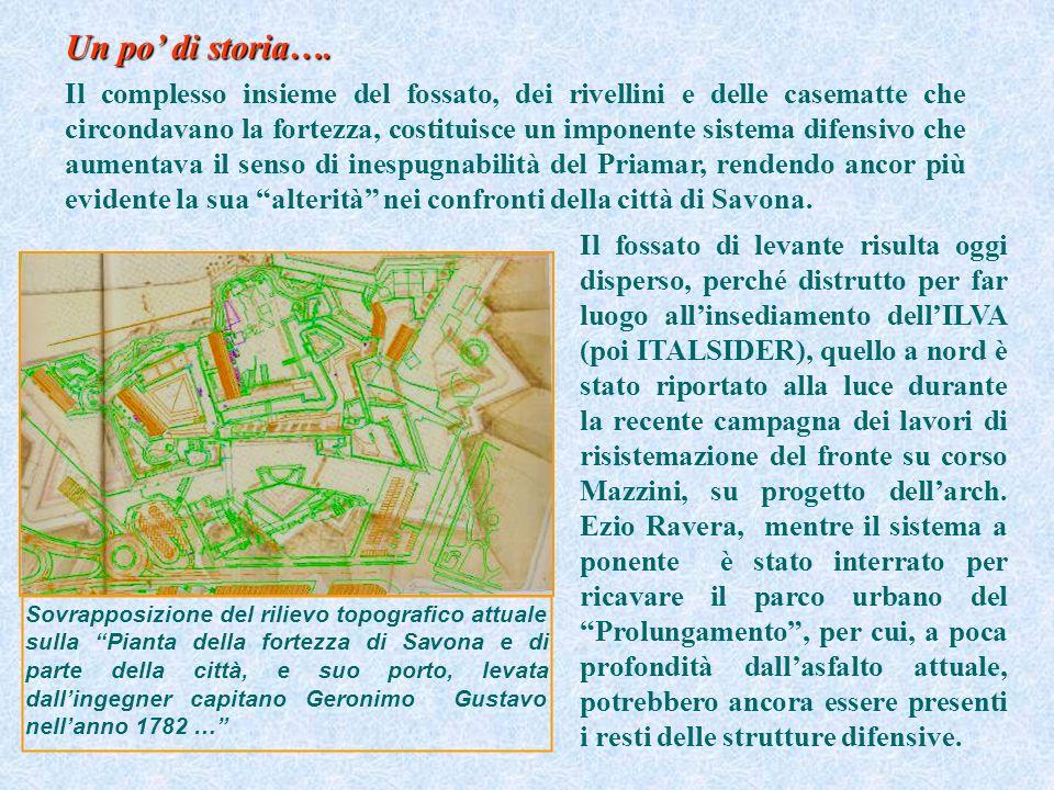 Sovrapposizione del rilievo topografico attuale sulla Pianta della fortezza di Savona e di parte della città, e suo porto, levata dallingegner capitan
