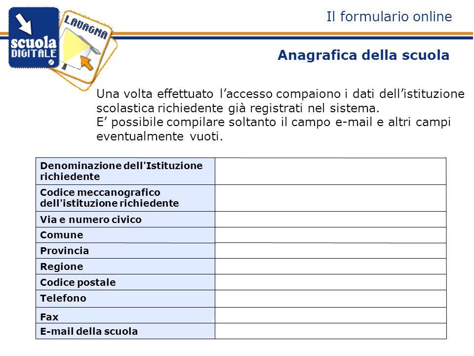 Anagrafica della scuola Una volta effettuato laccesso compaiono i dati dellistituzione scolastica richiedente già registrati nel sistema.