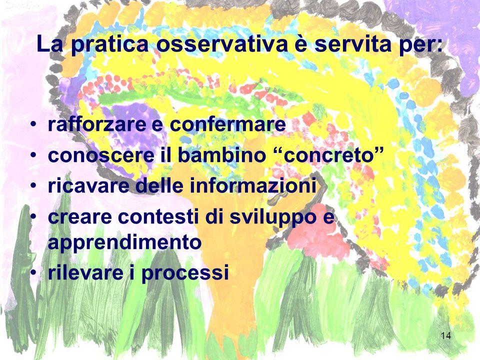 14 La pratica osservativa è servita per: rafforzare e confermare conoscere il bambino concreto ricavare delle informazioni creare contesti di sviluppo