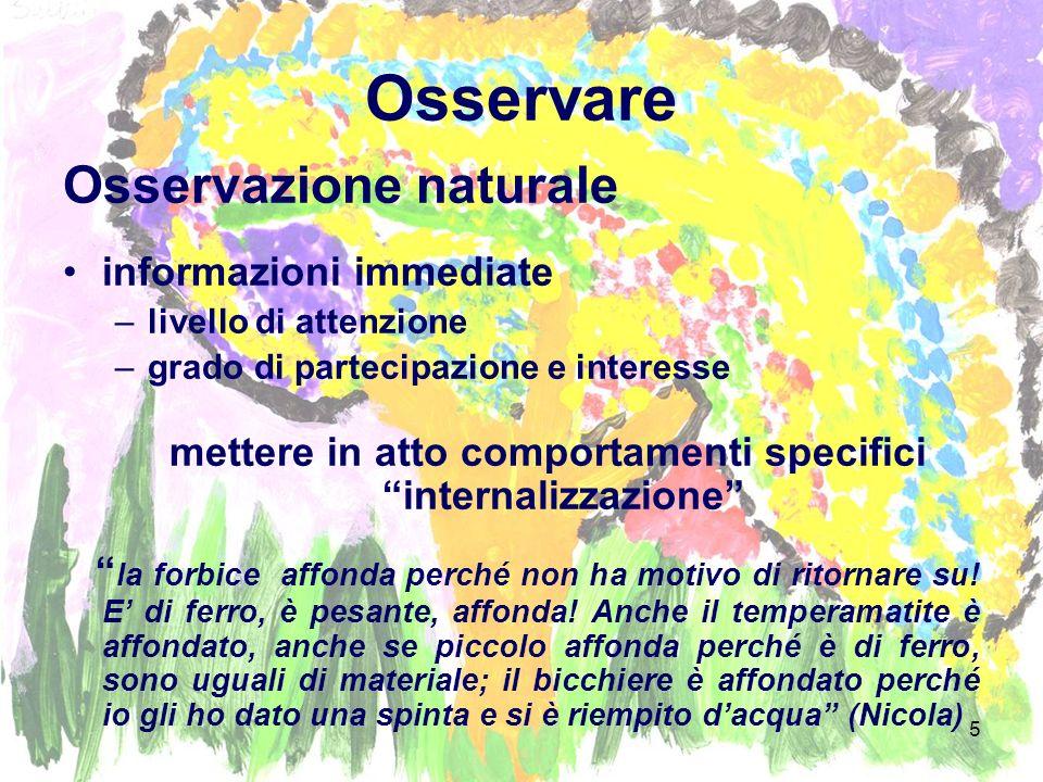 6 Contesto Spaziale Relazionale Quando il bambino si sente osservato, migliora spontaneamente il suo comportamento lavoro di osservazione