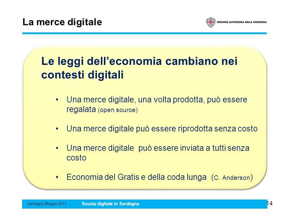 14 La merce digitale Sardegna, Maggio 2011 Scuola digitale in Sardegna Le leggi delleconomia cambiano nei contesti digitali Una merce digitale, una vo
