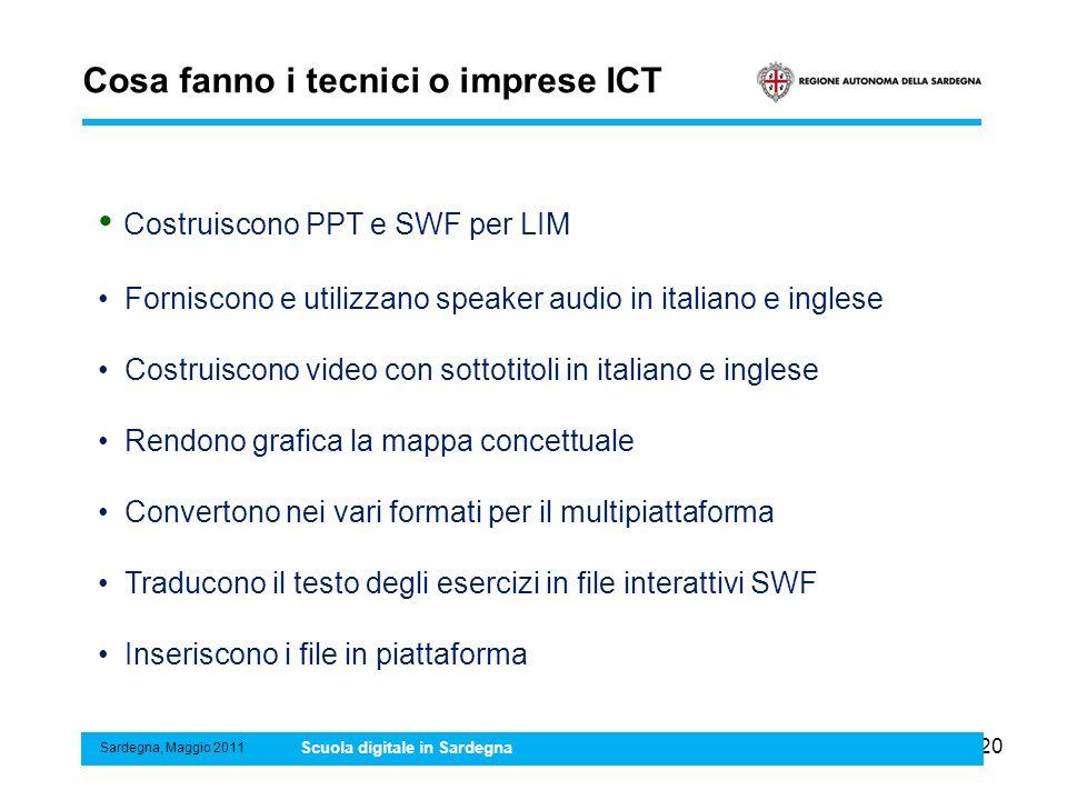 20 Cosa fanno i tecnici o imprese ICT Sardegna, Maggio 2011 Scuola digitale in Sardegna Costruiscono PPT e SWF per LIM Forniscono e utilizzano speaker