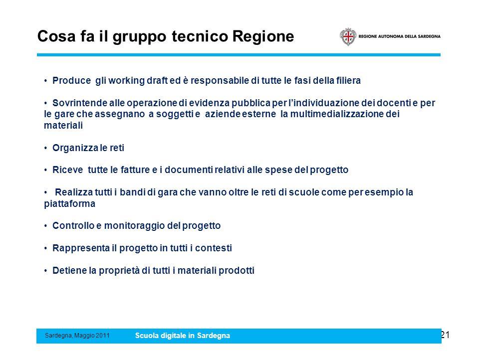 21 Cosa fa il gruppo tecnico Regione Sardegna, Maggio 2011 Scuola digitale in Sardegna Produce gli working draft ed è responsabile di tutte le fasi de