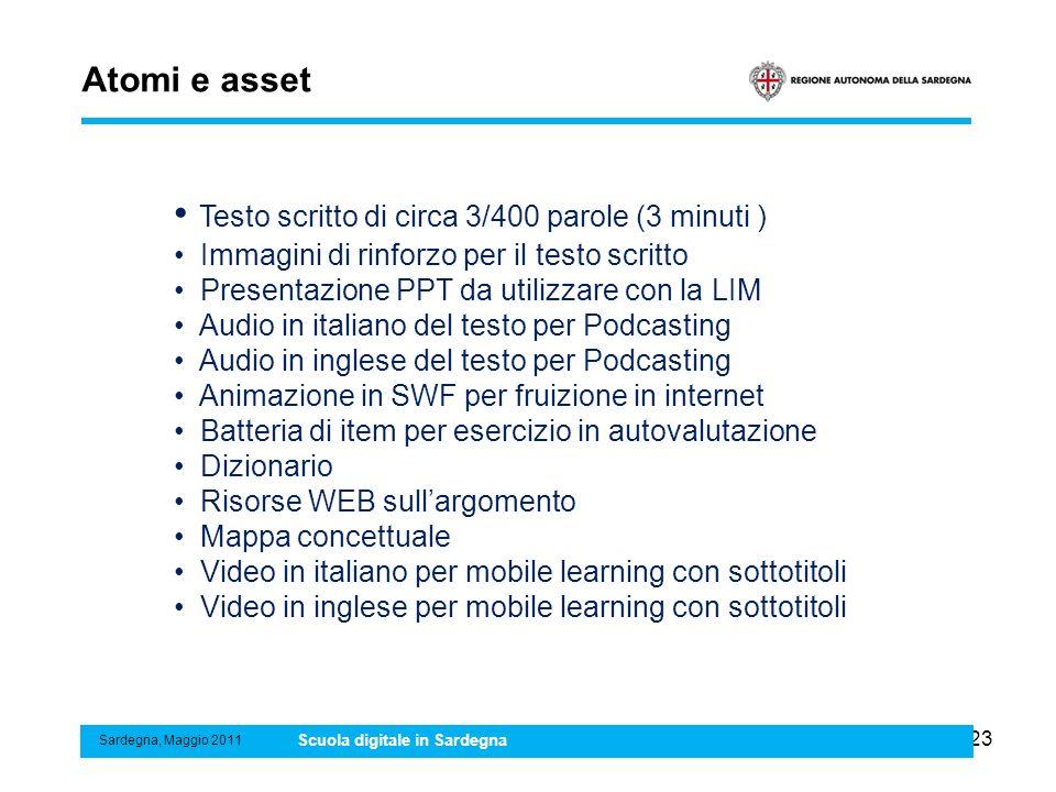 23 Atomi e asset Sardegna, Maggio 2011 Scuola digitale in Sardegna Testo scritto di circa 3/400 parole (3 minuti ) Immagini di rinforzo per il testo s
