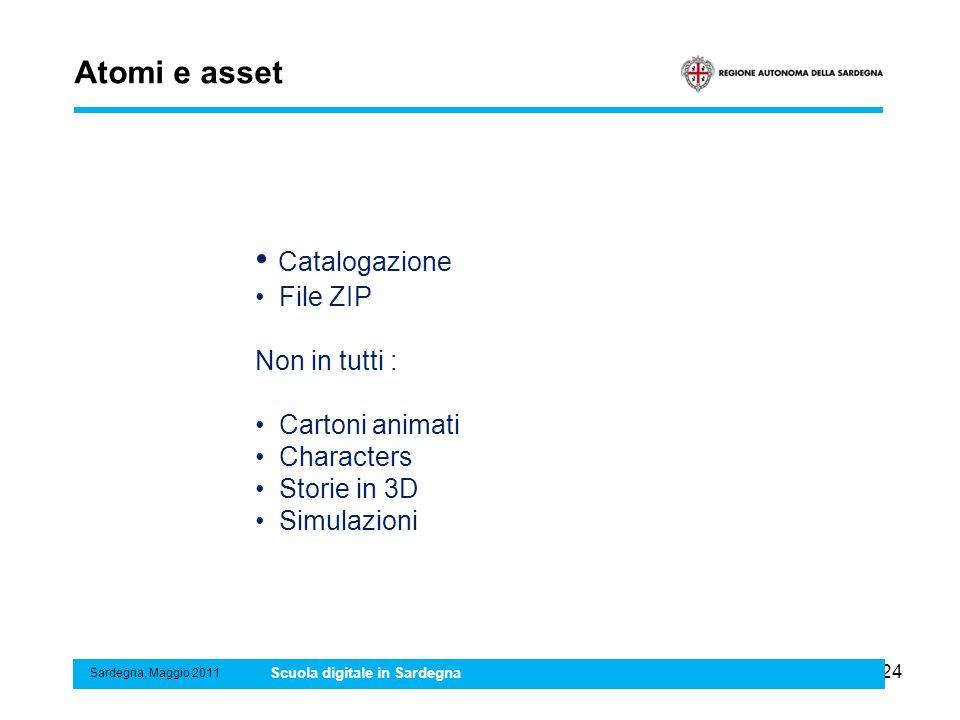 24 Atomi e asset Sardegna, Maggio 2011 Scuola digitale in Sardegna Catalogazione File ZIP Non in tutti : Cartoni animati Characters Storie in 3D Simul