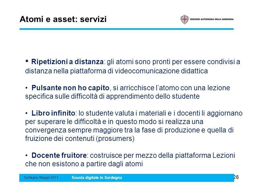 26 Atomi e asset: servizi Sardegna, Maggio 2011 Scuola digitale in Sardegna Ripetizioni a distanza: gli atomi sono pronti per essere condivisi a dista