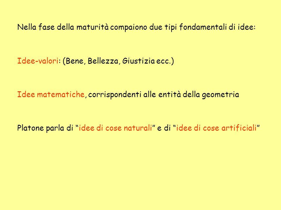Nella fase della maturità compaiono due tipi fondamentali di idee: Idee-valori: (Bene, Bellezza, Giustizia ecc.) Idee matematiche, corrispondenti alle