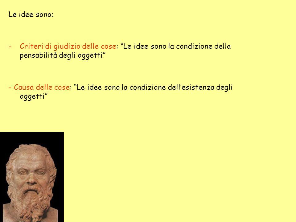 Le idee sono: -Criteri di giudizio delle cose: Le idee sono la condizione della pensabilità degli oggetti - Causa delle cose: Le idee sono la condizio