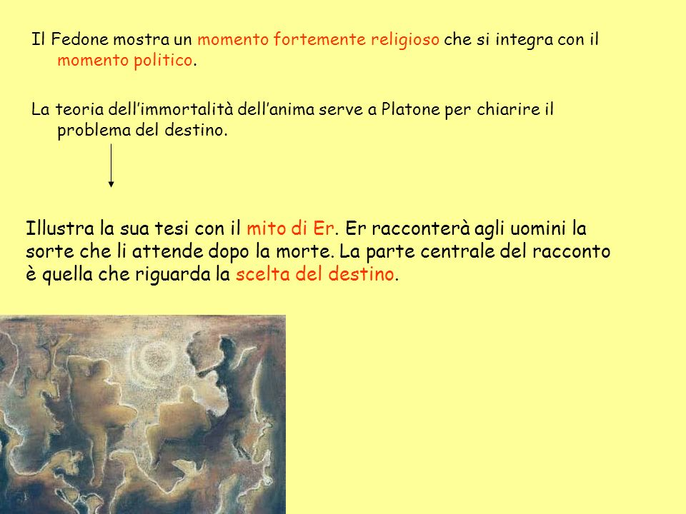 Il Fedone mostra un momento fortemente religioso che si integra con il momento politico. La teoria dellimmortalità dellanima serve a Platone per chiar
