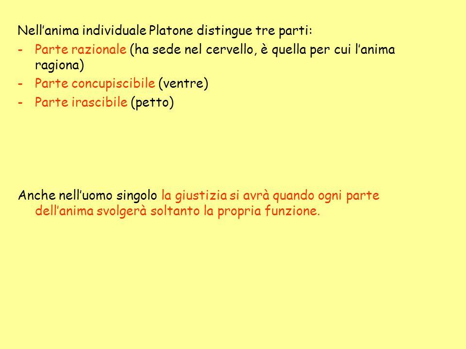 Nellanima individuale Platone distingue tre parti: -Parte razionale (ha sede nel cervello, è quella per cui lanima ragiona) -Parte concupiscibile (ven
