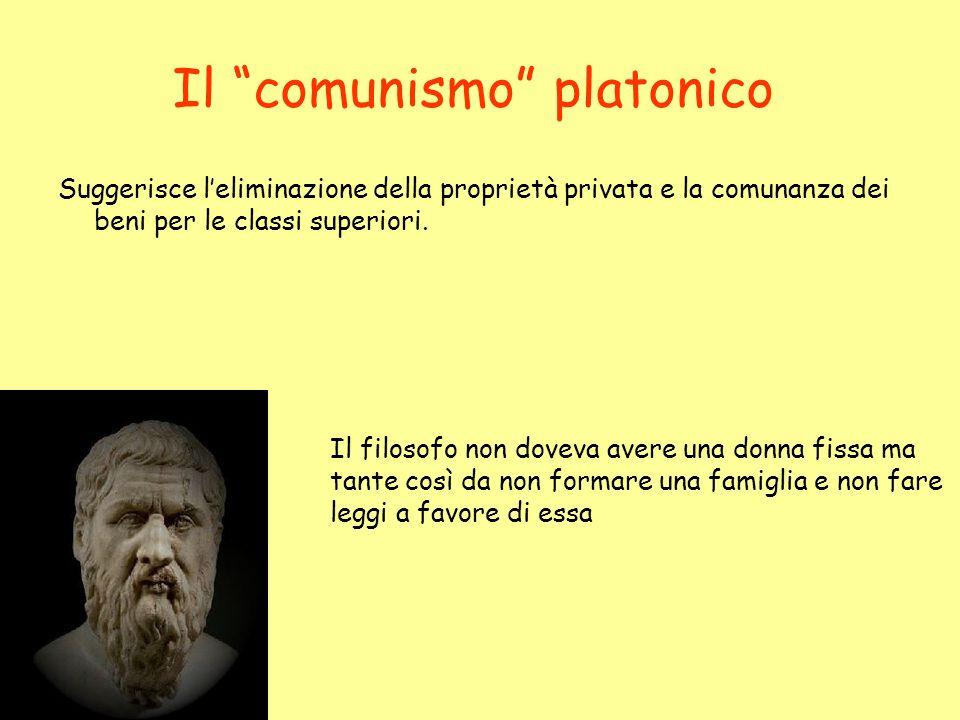 Il comunismo platonico Suggerisce leliminazione della proprietà privata e la comunanza dei beni per le classi superiori. Il filosofo non doveva avere