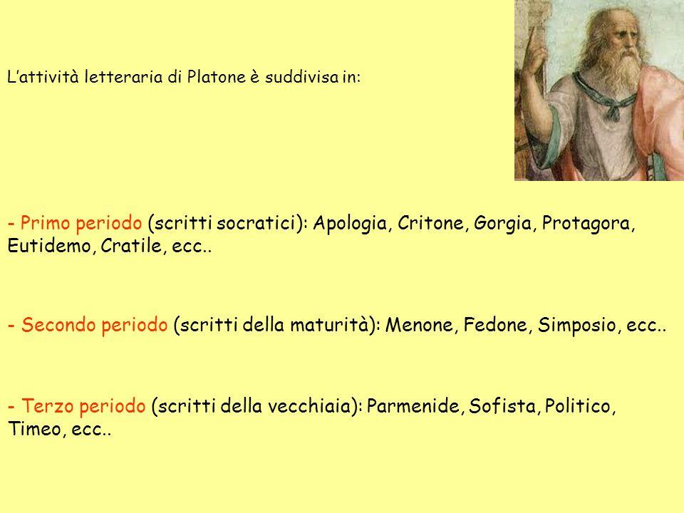Lattività letteraria di Platone è suddivisa in: - Primo periodo (scritti socratici): Apologia, Critone, Gorgia, Protagora, Eutidemo, Cratile, ecc.. -