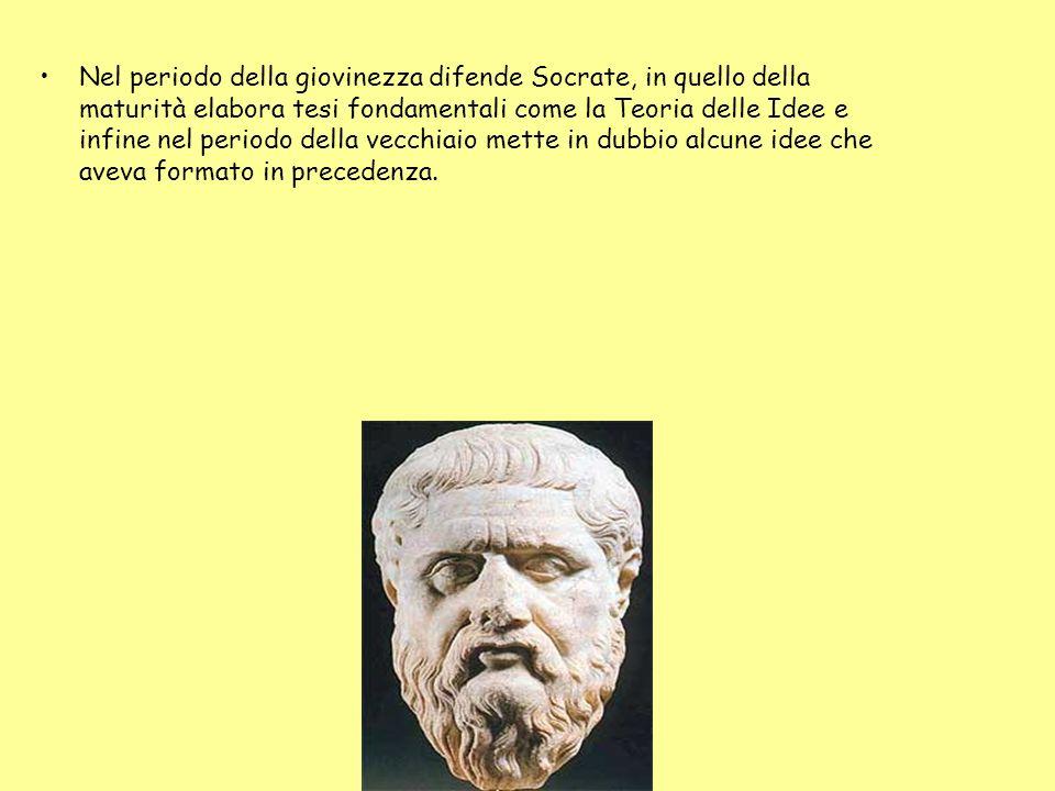 Nel periodo della giovinezza difende Socrate, in quello della maturità elabora tesi fondamentali come la Teoria delle Idee e infine nel periodo della