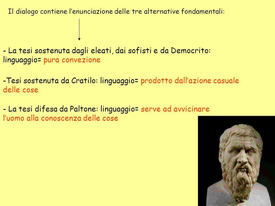 Il dialogo contiene lenunciazione delle tre alternative fondamentali: - La tesi sostenuta dagli eleati, dai sofisti e da Democrito: linguaggio= pura c