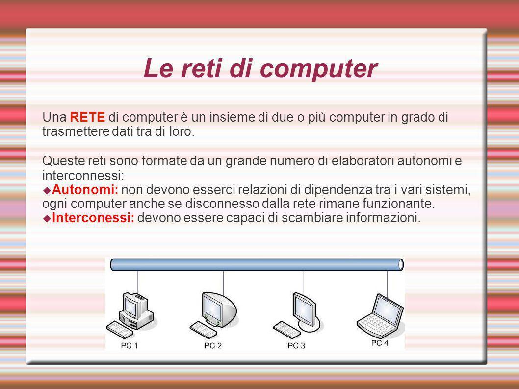 Le reti di computer Una RETE di computer è un insieme di due o più computer in grado di trasmettere dati tra di loro. Queste reti sono formate da un g