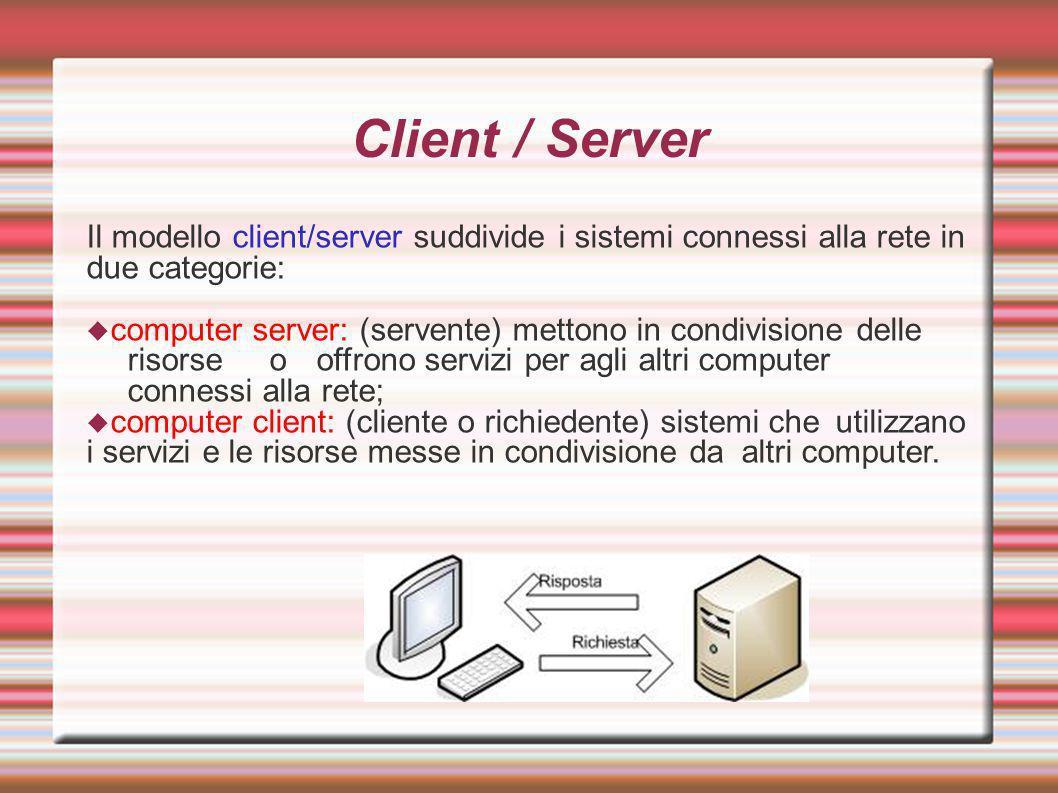 Client / Server Il modello client/server suddivide i sistemi connessi alla rete in due categorie: computer server: (servente) mettono in condivisione delle risorse o offrono servizi per agli altri computer connessi alla rete; computer client: (cliente o richiedente) sistemi che utilizzano i servizi e le risorse messe in condivisione da altri computer.