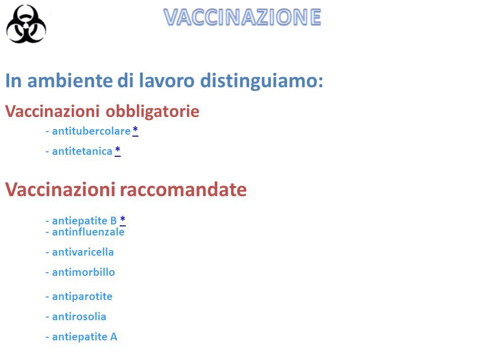 Vaccinazioni obbligatorie In ambiente di lavoro distinguiamo: - antitubercolare ** - antitetanica ** Vaccinazioni raccomandate - antiepatite B ** - an