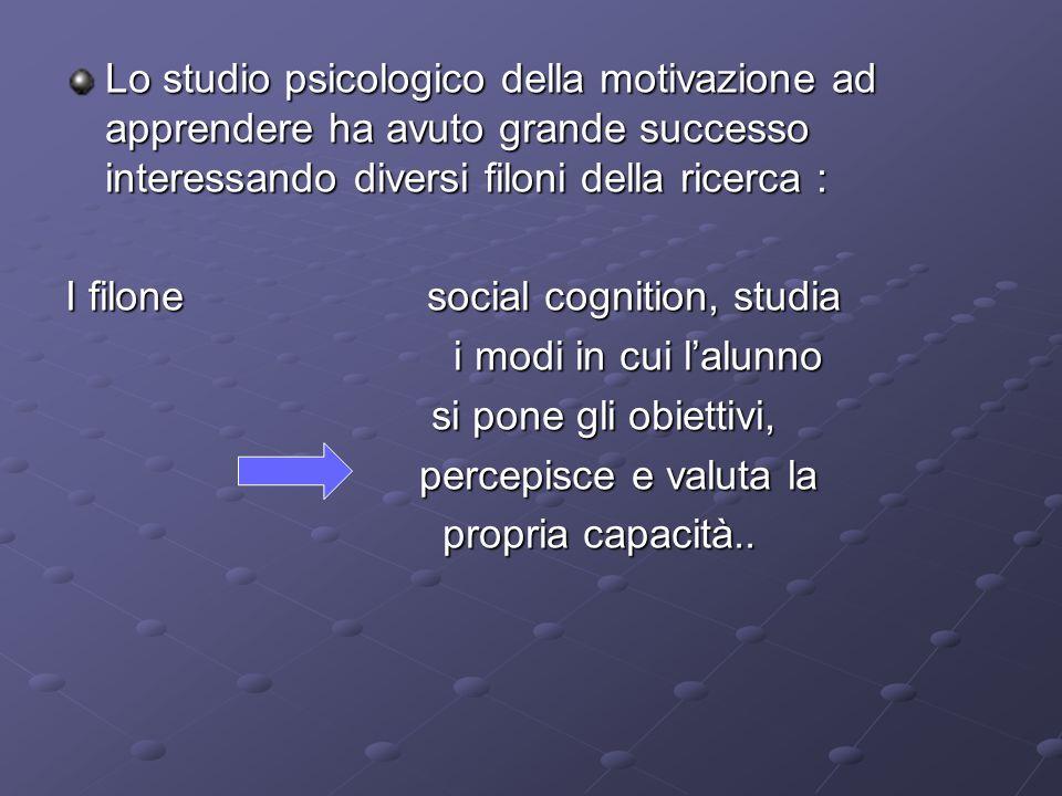 Lo studio psicologico della motivazione ad apprendere ha avuto grande successo interessando diversi filoni della ricerca : I filone social cognition,