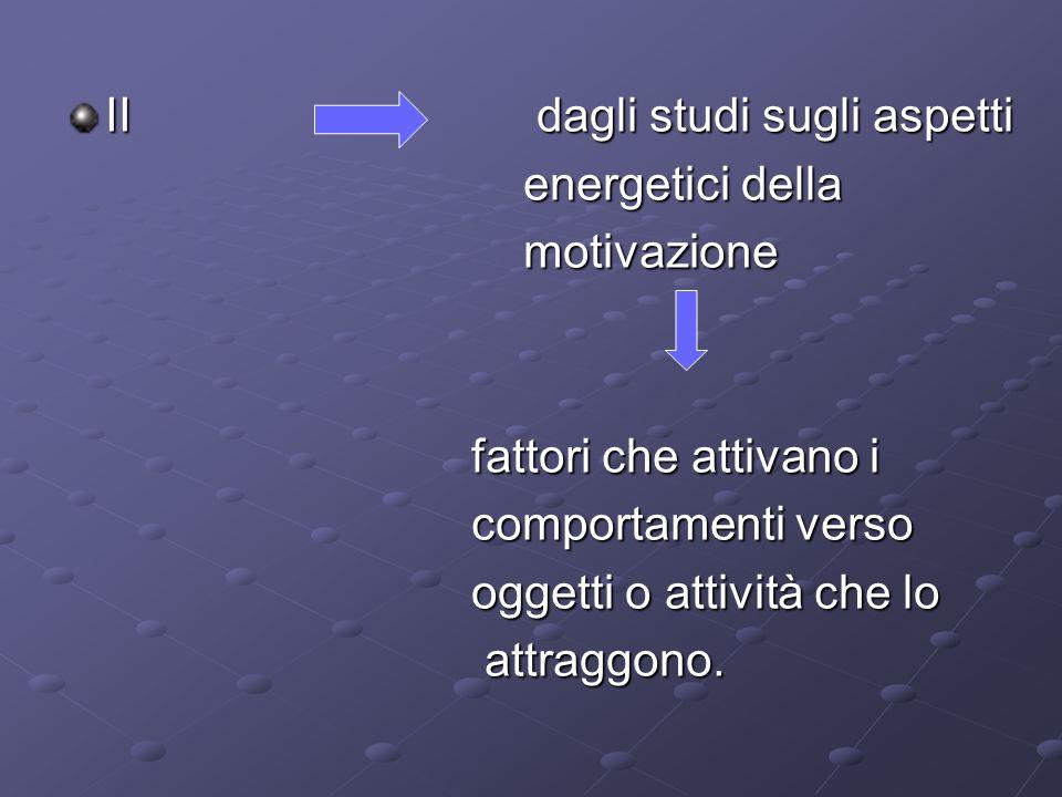 II dagli studi sugli aspetti energetici della energetici della motivazione motivazione fattori che attivano i fattori che attivano i comportamenti ver