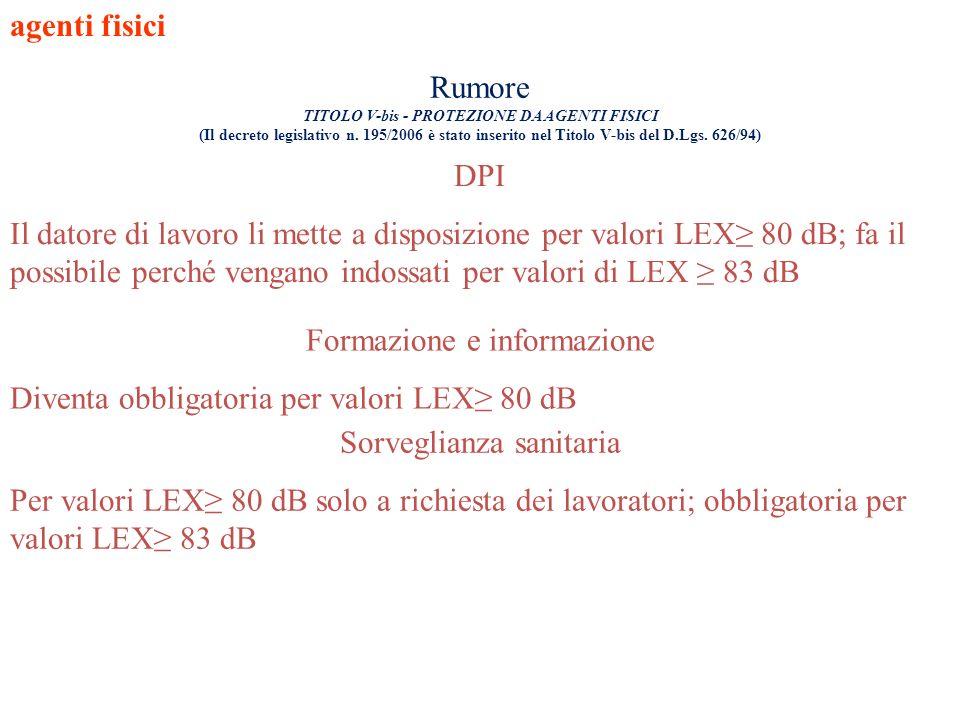 agenti fisici DPI Il datore di lavoro li mette a disposizione per valori LEX 80 dB; fa il possibile perché vengano indossati per valori di LEX 83 dB F
