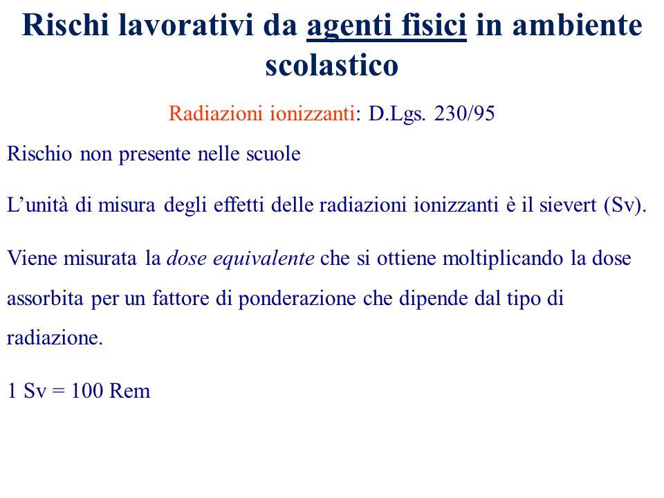 Rischi lavorativi da agenti fisici in ambiente scolastico Radiazioni ionizzanti: D.Lgs. 230/95 Rischio non presente nelle scuole Lunità di misura degl