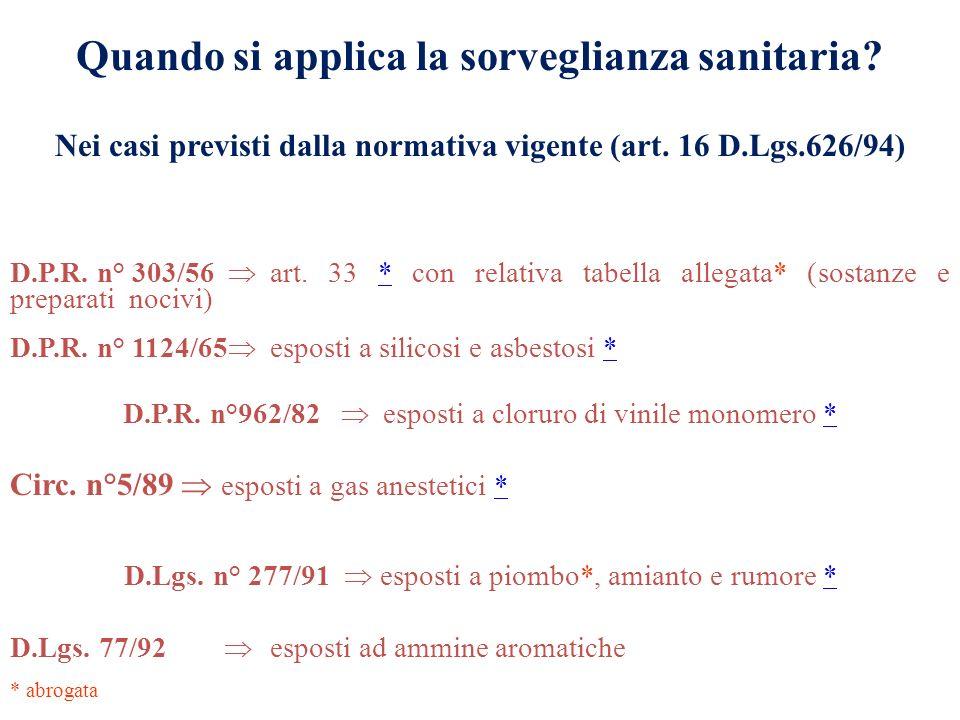 Quando si applica la sorveglianza sanitaria? D.P.R. n° 303/56 art. 33 * con relativa tabella allegata* (sostanze e preparati nocivi)* D.P.R. n° 1124/6