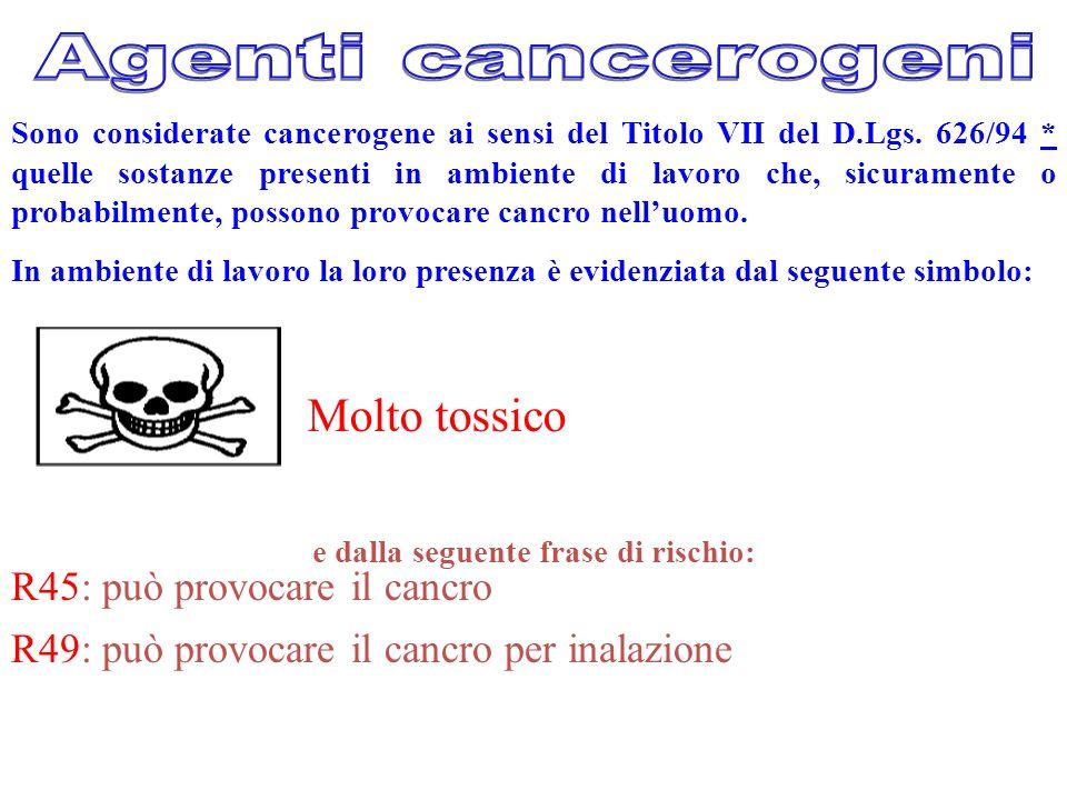 Sono considerate cancerogene ai sensi del Titolo VII del D.Lgs. 626/94 * quelle sostanze presenti in ambiente di lavoro che, sicuramente o probabilmen