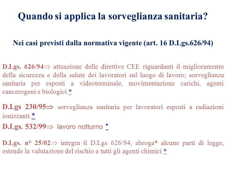 D.Lgs. n° 25/02 integra il D.Lgs 626/94, abroga* alcune parti di legge, estende la valutazione del rischio a tutti gli agenti chimici ** D.Lgs. 532/99