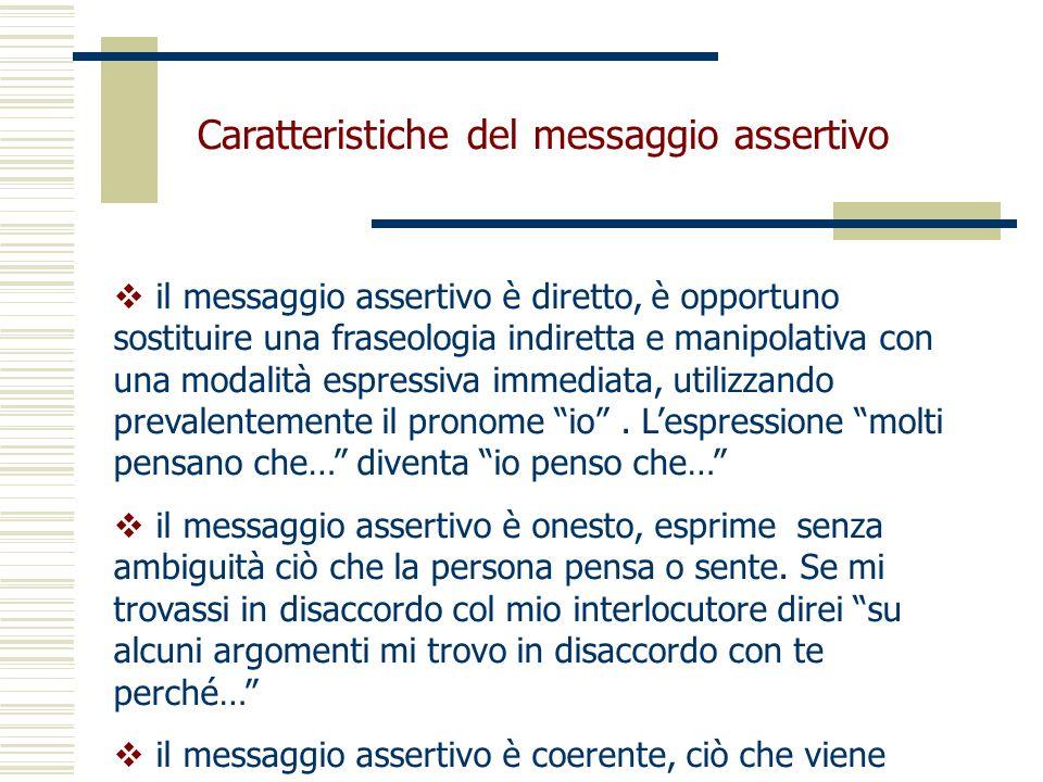 Caratteristiche del messaggio assertivo il messaggio assertivo è diretto, è opportuno sostituire una fraseologia indiretta e manipolativa con una moda