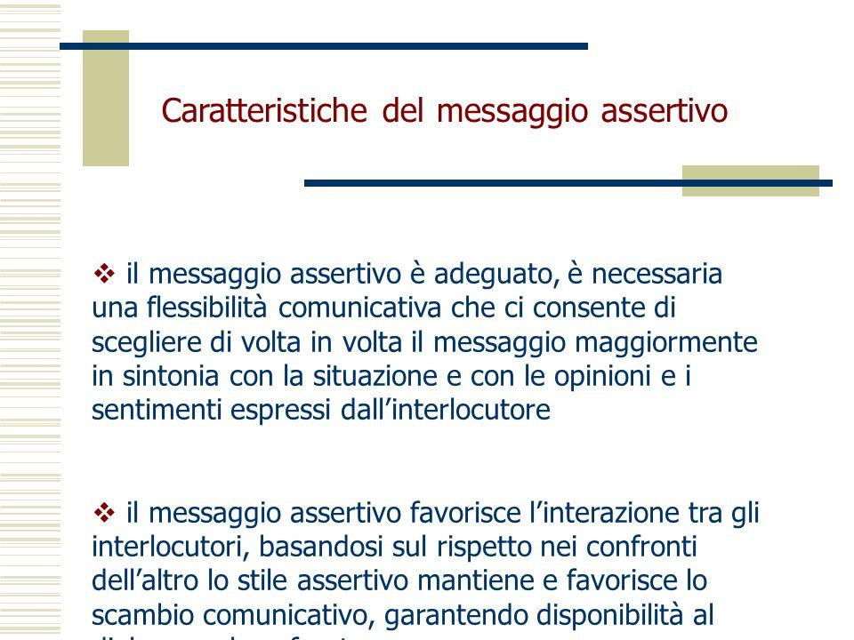 Caratteristiche del messaggio assertivo il messaggio assertivo è adeguato, è necessaria una flessibilità comunicativa che ci consente di scegliere di